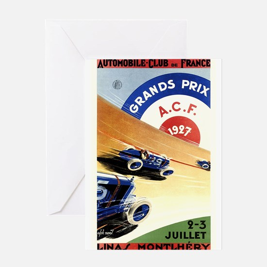 Antique 1927 France Grand Prix Race Poster Greetin