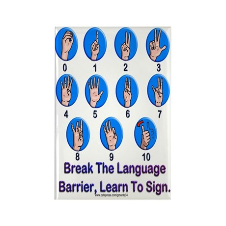 Sign Language Numbers Rectangle Magnet (100 pack)