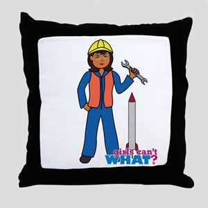 Rocket Scientist Woman Dark Throw Pillow