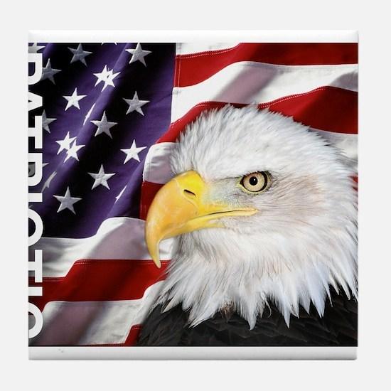 Patriotic Flag & Eagle Tile Coaster