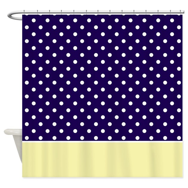 Blue And Yellow Kitchen Curtains: Navy Blue/Yellow W/Dots Shower Curtain By