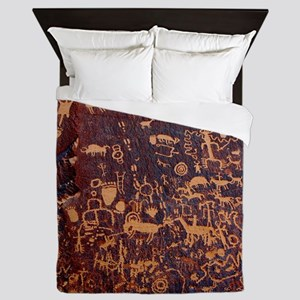 Newspaper Rock Petroglyph Queen Duvet