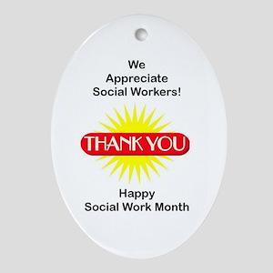 Social Work Appreciation Oval Ornament