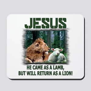 Jesus, Lion & Lamb Mousepad