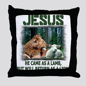 Jesus, Lion & Lamb Throw Pillow