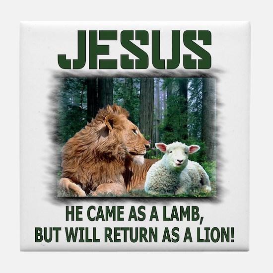 Jesus, Lion & Lamb Tile Coaster