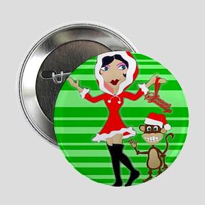 Holly Girl & Monkey Button