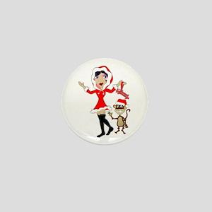 Holly Girl & Monkey Mini Button