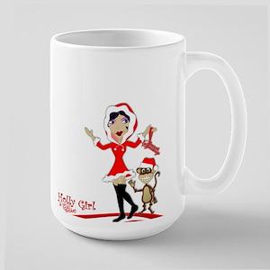 Holly Girl & Monkey Large Mug