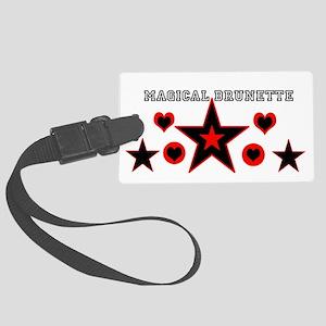 Magical Brunette Black Star Large Luggage Tag