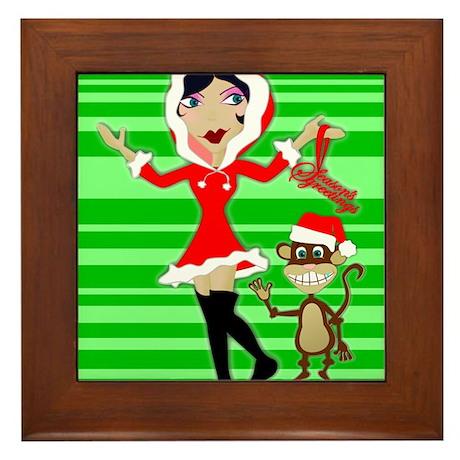 Holly Girl & Monkey Framed Tile