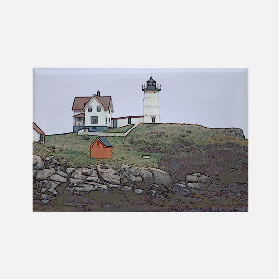 Nubble Lighthouse Rectangle Magnet (10 pack)