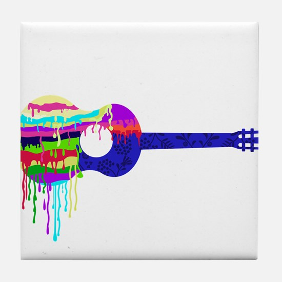 Guitar Paintdrips Tile Coaster