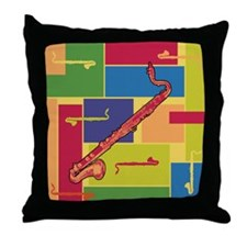Bass Clarinet Colorblocks Throw Pillow