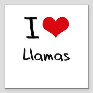"I Love Llamas Square Car Magnet 3"" x 3"""