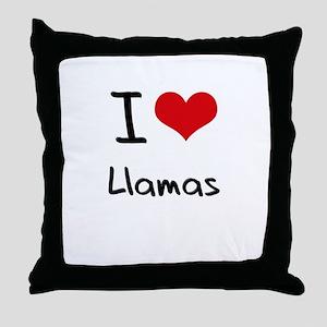 I Love Llamas Throw Pillow