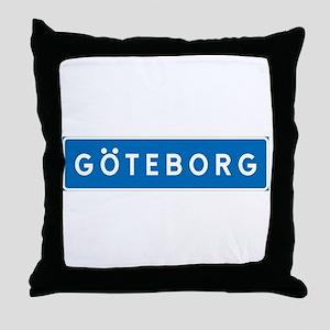 Road Marker Gothenburg - Sweden Throw Pillow