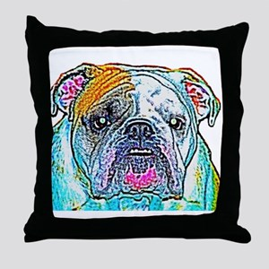 Bulldog in Color Throw Pillow