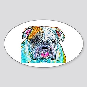 Bulldog in Color Oval Sticker