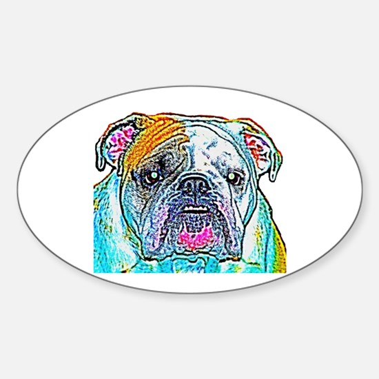 Bulldog in Color Oval Decal