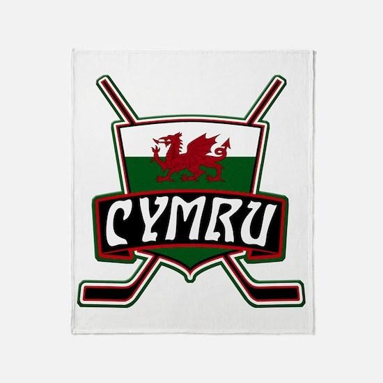 Wales Welsh Ice Hockey Shield Throw Blanket