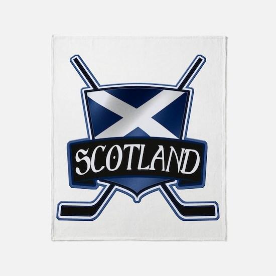 Scottish Scotland Ice Hockey Shield Throw Blanket