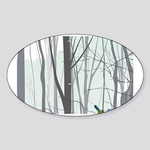 Christmas tree in the forest Sticker (Oval 10 pk)