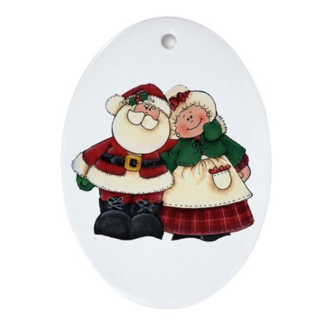 Mr. & Mrs. Claus Oval Ornament