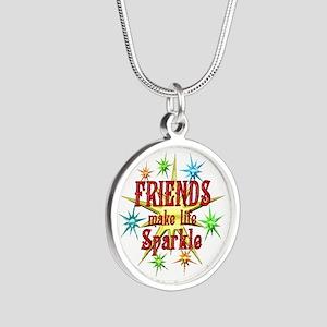 Friends Sparkle Silver Round Necklace