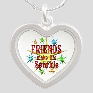Friends Sparkle Silver Heart Necklace