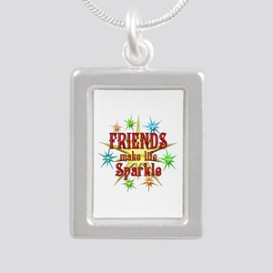 Friends Sparkle Silver Portrait Necklace