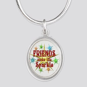 Friends Sparkle Silver Oval Necklace