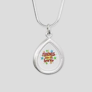 Friends Sparkle Silver Teardrop Necklace