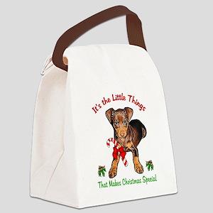 Miniature Pinscher Christmas Canvas Lunch Bag