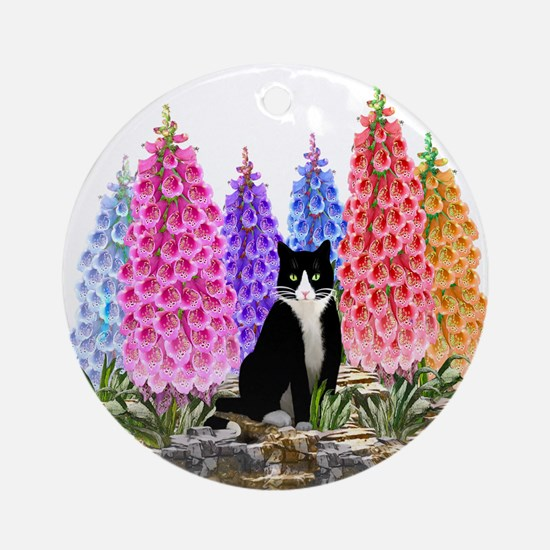 Tuxedo Cat with Foxglove Ornament (Round)