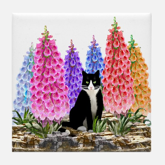 Tuxedo Cat with Foxglove Tile Coaster
