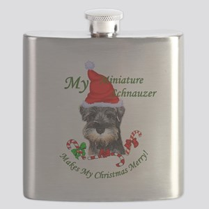 Miniature Schnauzer Christmas Flask