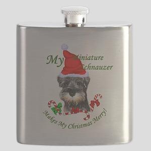 Miniature Schnauzer Christmas Flask