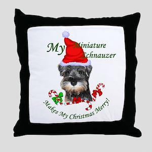 Miniature Schnauzer Christmas Throw Pillow