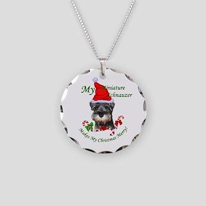 Miniature Schnauzer Christma Necklace Circle Charm