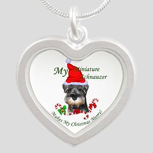 Miniature Schnauzer Christma Silver Heart Necklace