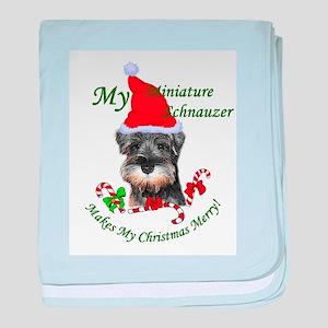 Miniature Schnauzer Christmas baby blanket