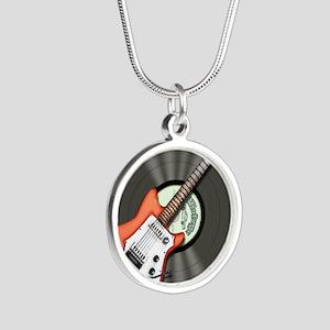Vintage Guitar Silver Round Necklace