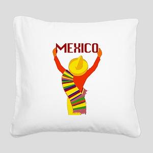 Vintage Mexico Travel Square Canvas Pillow