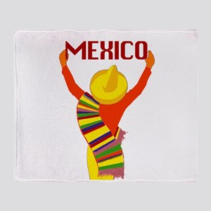 Vintage Mexico Travel Throw Blanket