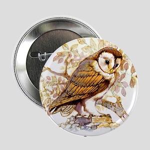 """Barn Owl Peter Bere Design 2.25"""" Button"""