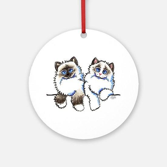 Ragdolls Pair Off-Leash Art™ Ornament (Round)