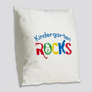 Kindergarten Rocks Burlap Throw Pillow