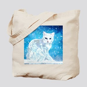 Abstract white cat Tote Bag