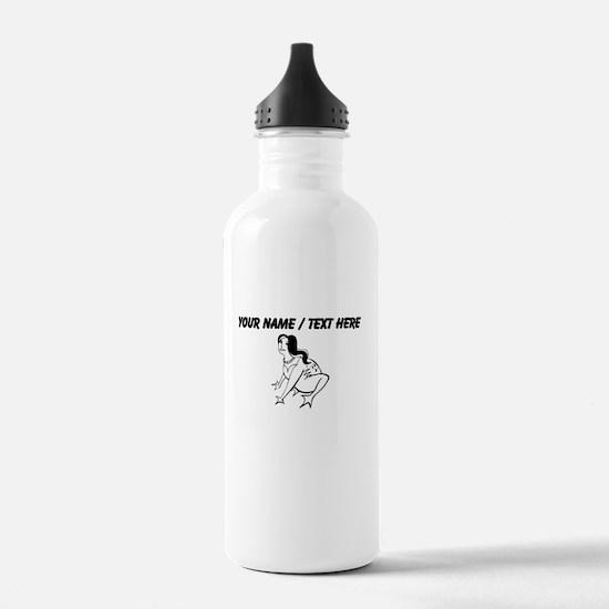 Custom Alien Frog Woman Water Bottle